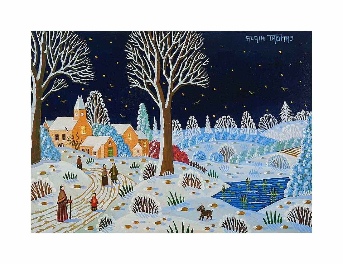 Scène d'hiver nocturne au lac