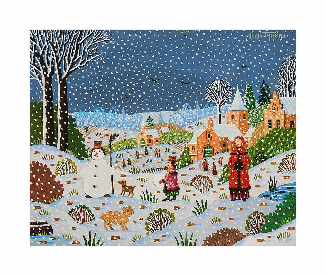 Femme au manchon à la neige tombante
