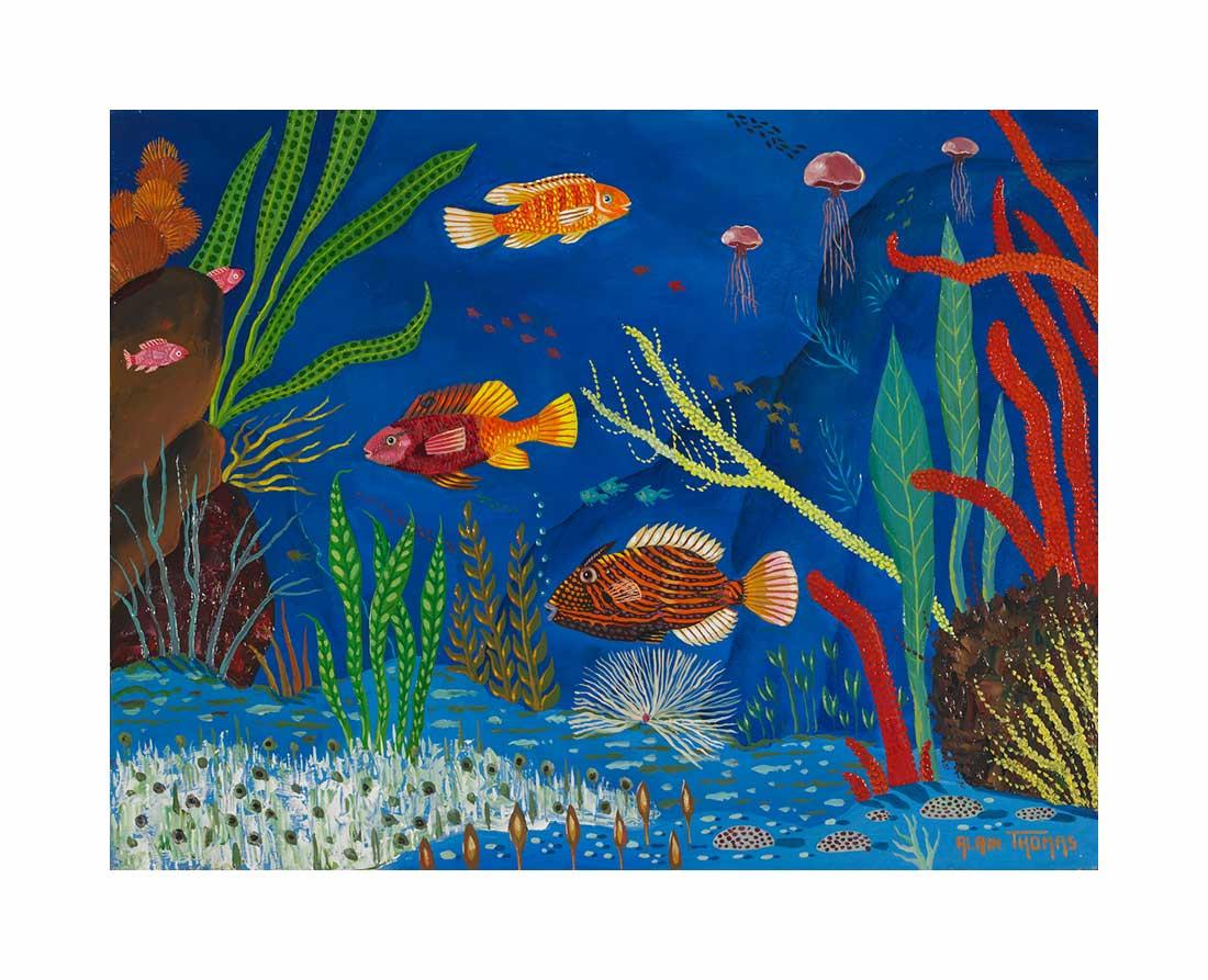 Fond marin aux algues rouges