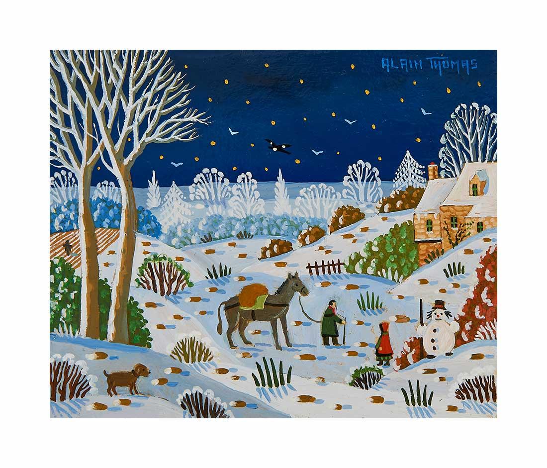 Bonhomme de neige nocturne